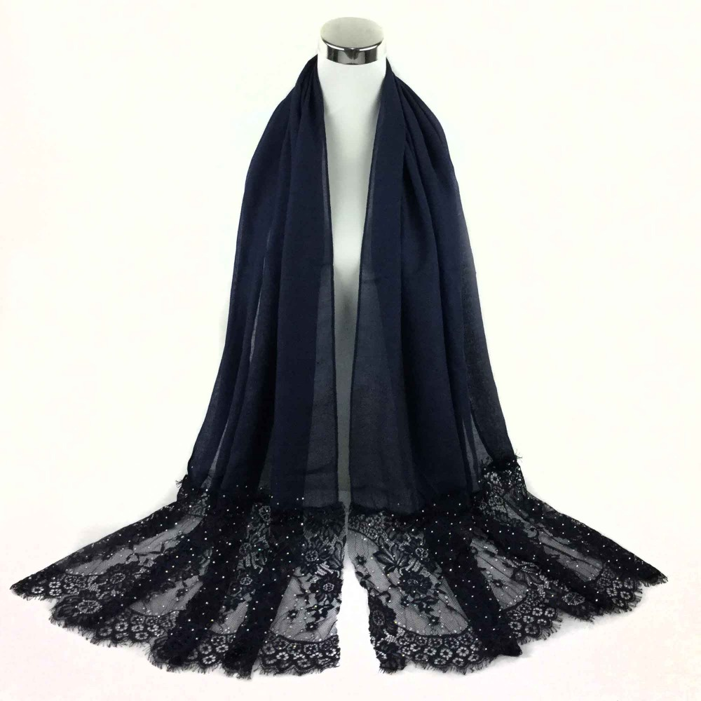 2016 Newest Plain Cotton Stones Lace Scarf shawls muslim Long hijabs spring scarves/scarf Women Scarfs,Can choose colors,PH001(China (Mainland))