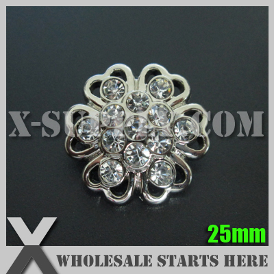 25mm Round Plastic Acrylic Diamond Button for Clothing,Flower Center/Silver Base with Crystal Rhinestone/Bulk Wholesale