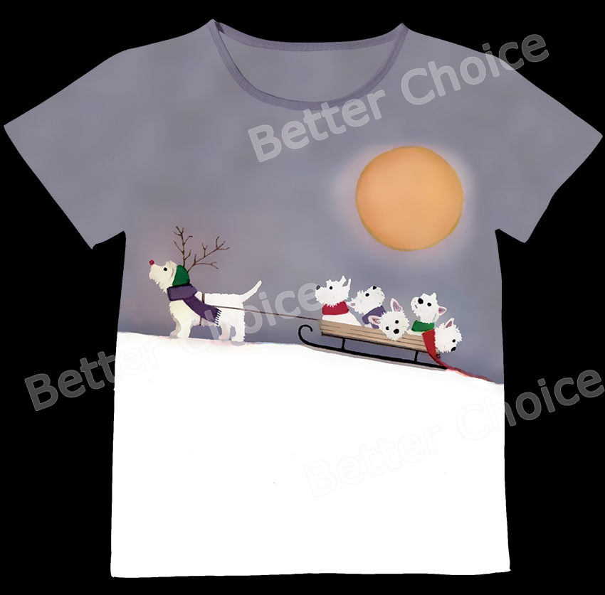 Track Ship+New Vintage Retro T-shirt Top Tee White Scottie Terrier Dog Baby Reindeer Sled on Snow Mountain 0971(Hong Kong)