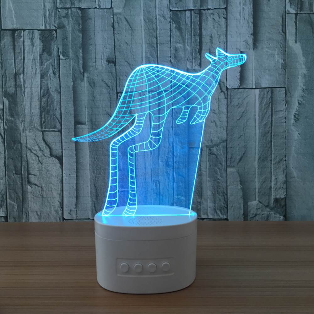 Kangaroo 3d Speaker Night Lamp Indoor Bluetooth Speaker Usb Music Standing Lamp Bedside Lampara With Color Changeable Gift(China (Mainland))