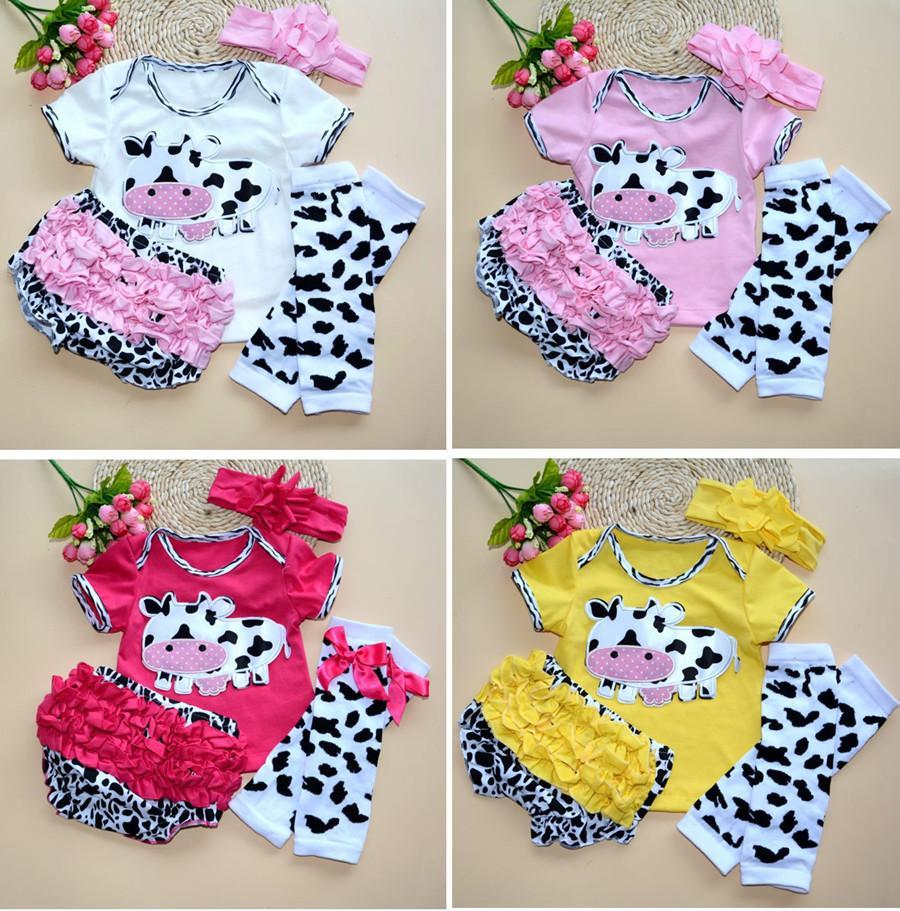 Newborn Infant Baby Girl Clothes Kids Ropa de Bebe Cow T-shirt Headband+Top+Leg Warmers+Shorts Bloomers Pants Clothing Set(China (Mainland))