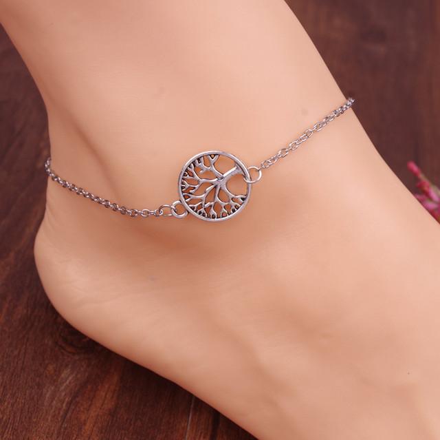 Старинные серебряная цепочка босиком ножные браслеты ювелирные изделия металл выдолбите ...