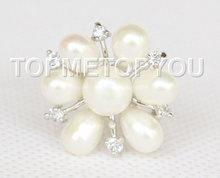 wholesael 22mm snowflake shape white pearls Rings 7#----9# USA(China (Mainland))