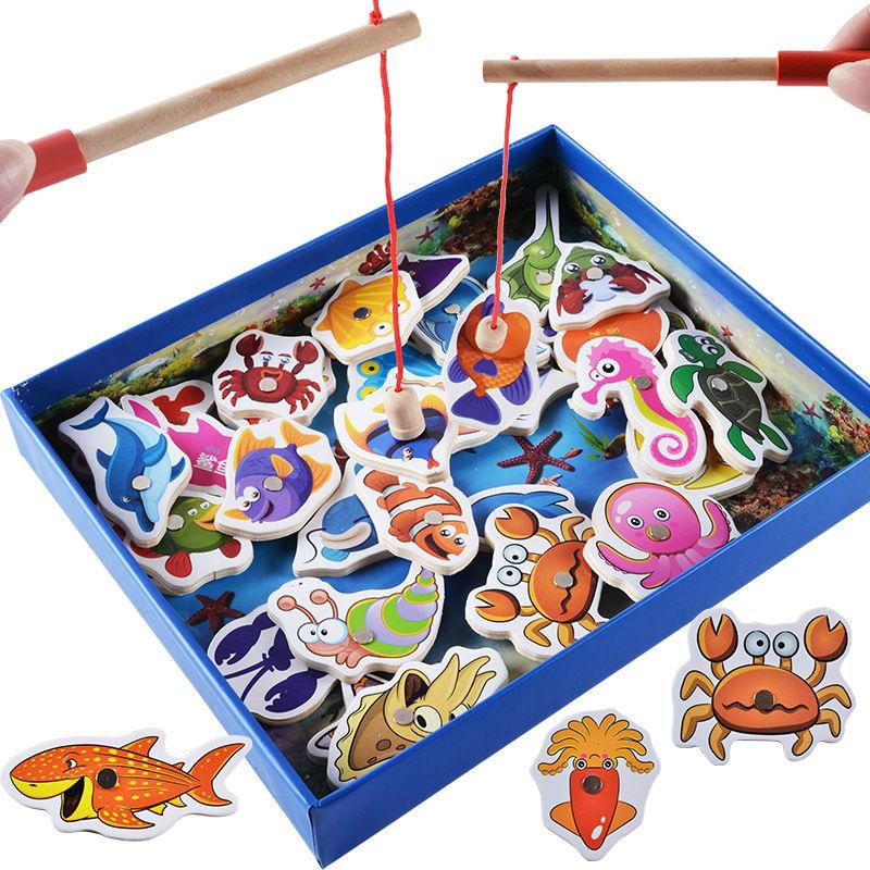 Free shipping Kids marine biological cognition fishing game, Early Head Start Training Fishing blocks Grasping child's gift(China (Mainland))