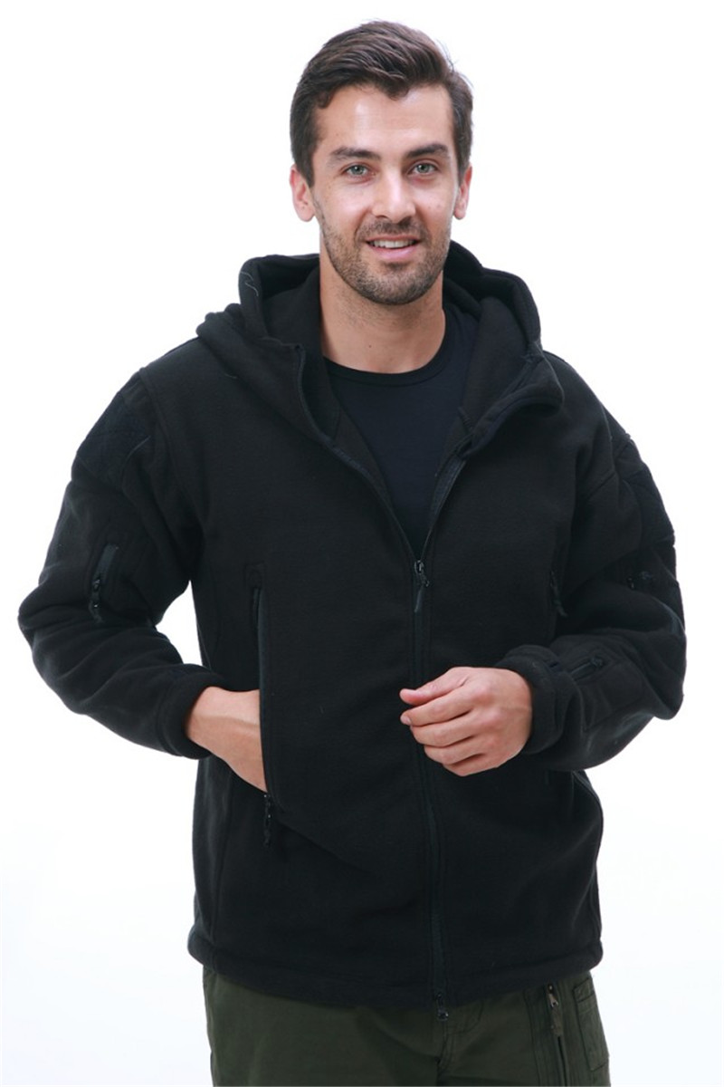Free Shipping Ghost Fleece Hoodie Military Tactical Jacket Black
