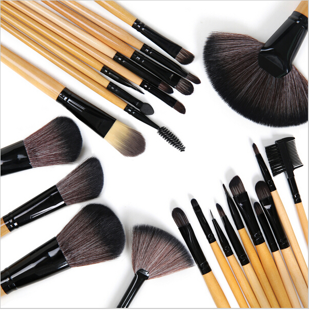 24 pcs High quality pincel maquiagem Professional Brand Goat Hair makeup brush Cosmetic set with leather bag(China (Mainland))