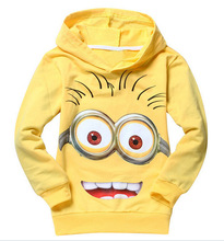 1pcs/lot 2015 despicable me 2 minion boys clothes, girls nova shirts, child Spring hoodies Tops & Tee(China (Mainland))
