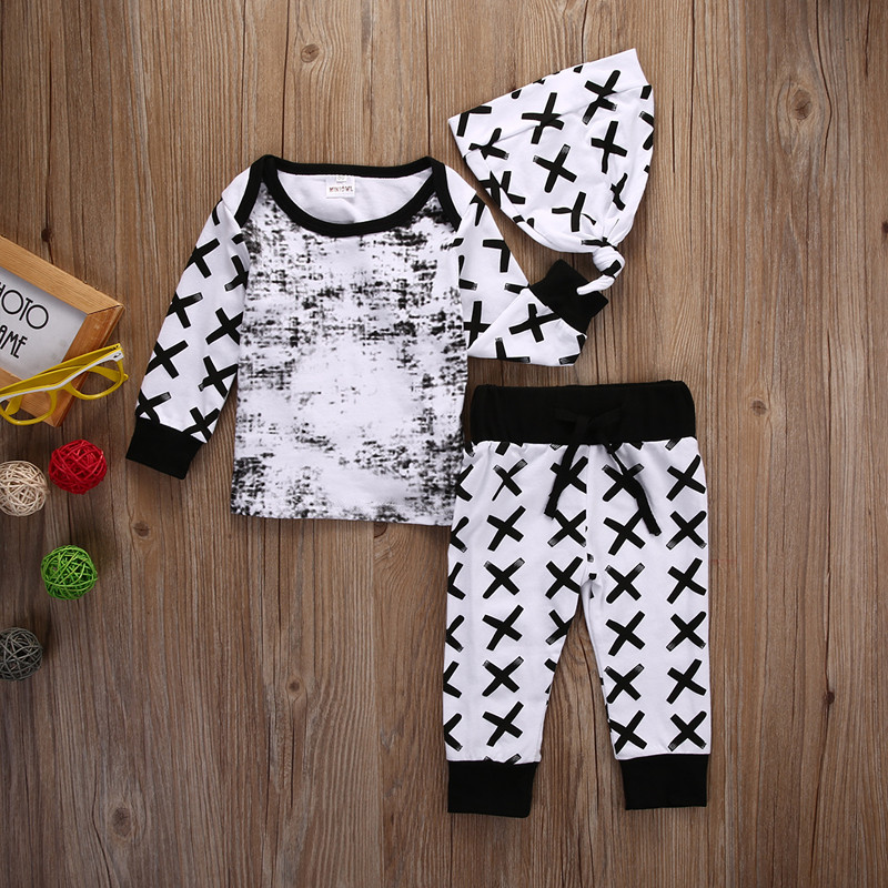 Baby Boys Clothing 3pcs Outfits Set Newborn Toddler Infant Kids Baby Boy Clothes T-shirt Tops Pants Hat