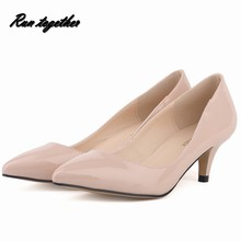 New fashion star pointed toe party wedding Med heeles shoes classics women's pumps size 35-42 mixed color pu leather