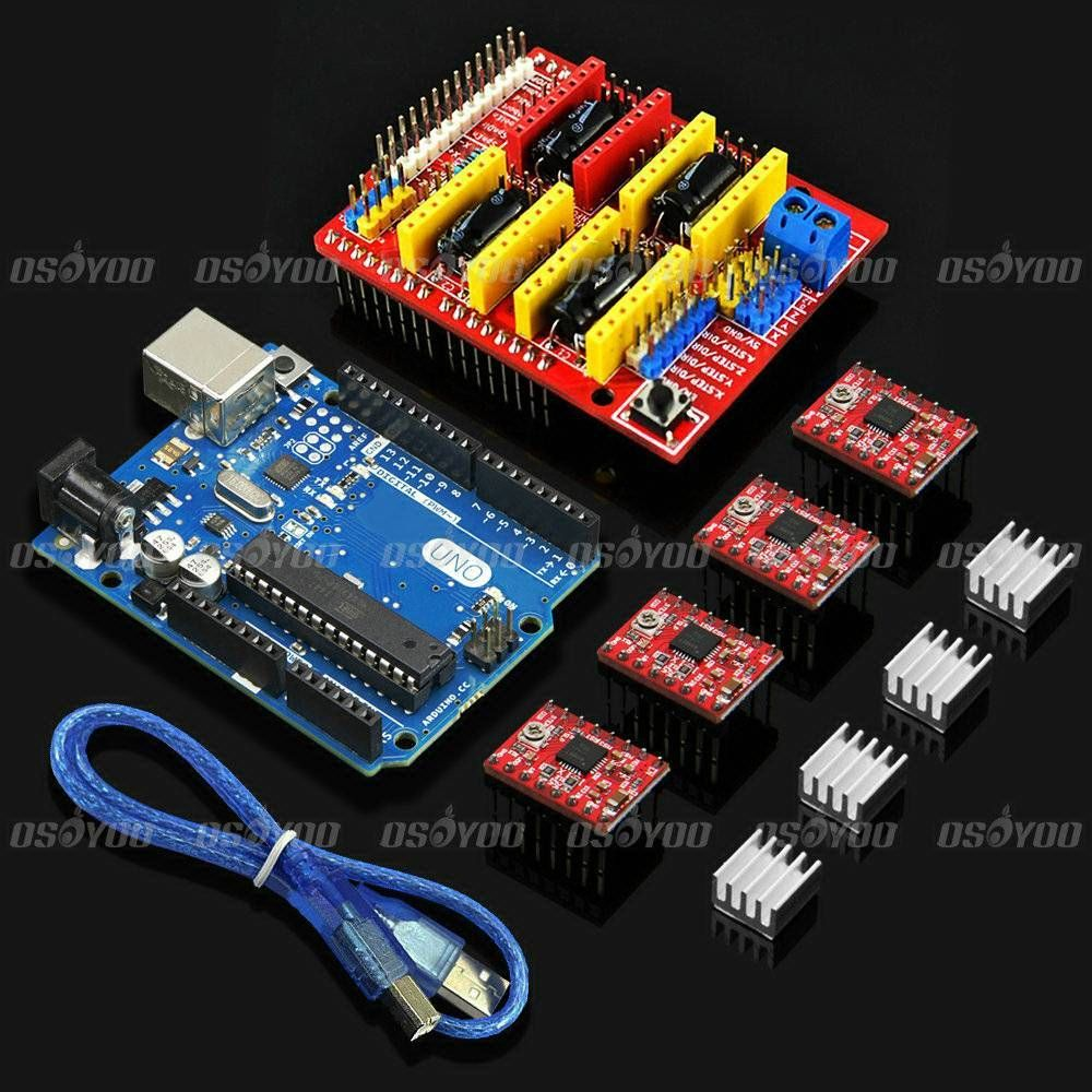 Гаджет  New UNO R3 Board + CNC Shield Expansion Board +  4 x A4988 Stepper Motor Driver with Heat Sink for Arduino 3D Printer None Электронные компоненты и материалы