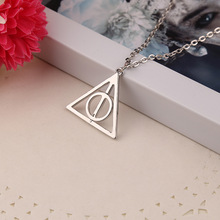 2016 Can Be Rotated Vintage Triangle Pendant Unisex Round Collares Necklace The Rotatable Deathly Hallows Necklace Jewelry(China (Mainland))
