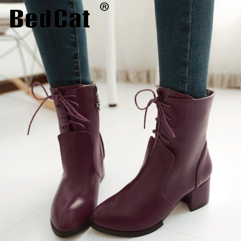 CooLcept ankle high heel short boots women snow fashion winter warm boot footwear P15496 EUR size 32-43