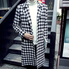 2015 Fashion X-long Woolen Coat Men England Style Plaid Turn-down Collar Dustcoat Long Trench Coat Mens Outdoor Blends Peacoat(China (Mainland))