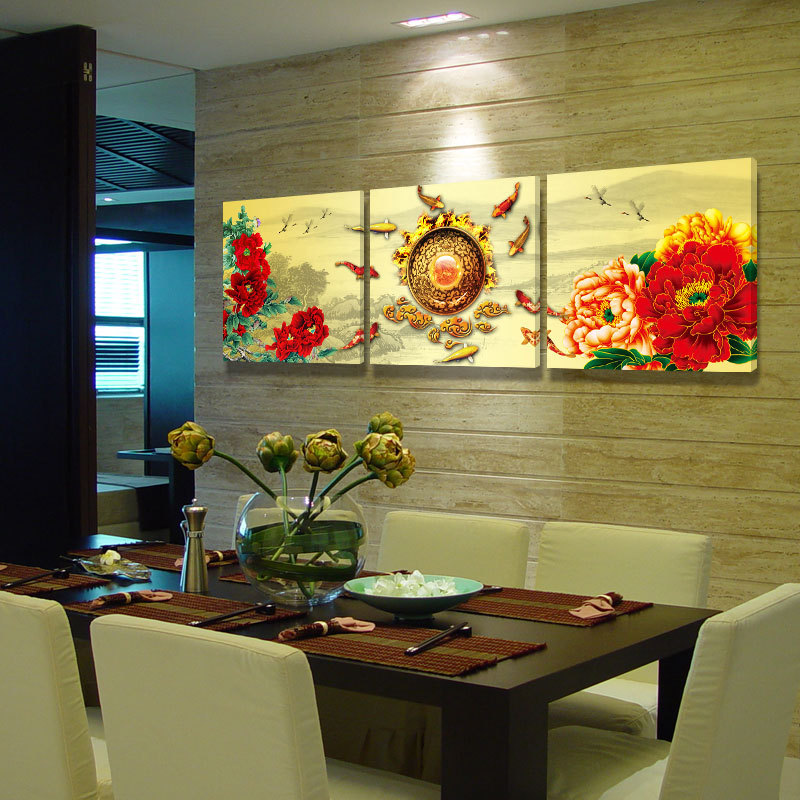 Frameless print canvas Peony And Goldfish Painting Canvas Material 3 PCS Unframed Living Room Bedroom Wall Paintings TD5006(China (Mainland))