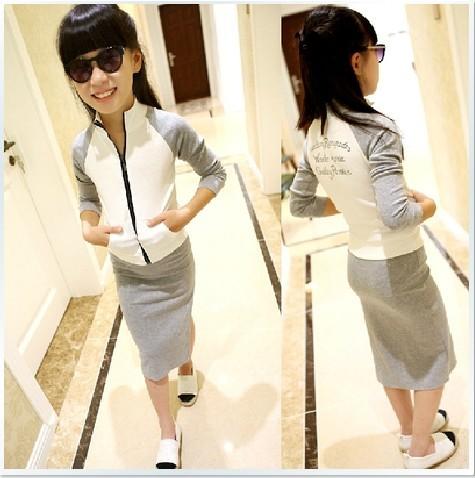 2015 Baby Kids 2104 Autumn Girls Clothing Colorant Match Baseball Shirt Outerwear Placketing Full Dress Twinset Sportswear Set(China (Mainland))