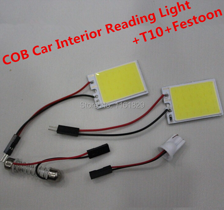 1pcs 12V White 8W 48 SMD Car Interior COB LED panel T10 COB chip Festoon dome