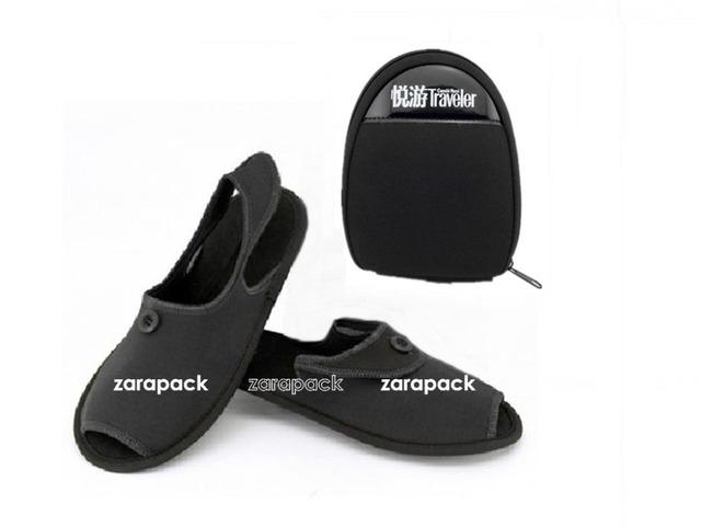 Дизайнер черный домашние тапочки складные обувь деловых поездок авиакомпания в полете ...