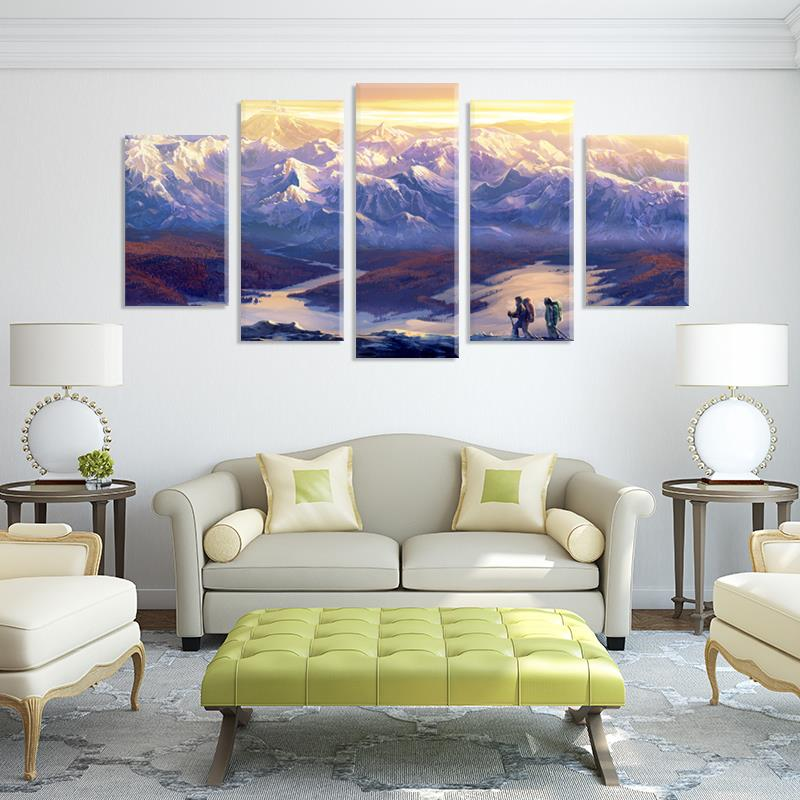 Snowy mountain landscape 5pcs Painting on fabric room decoration print poster picture canvas Free shipping(China (Mainland))