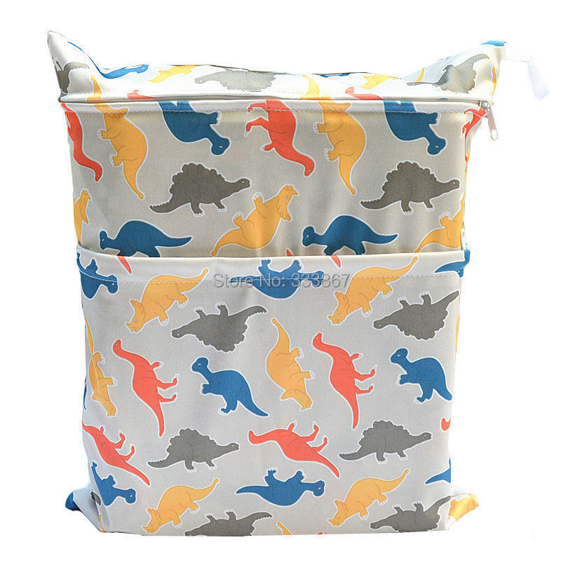 1 new design dinosaur wet dry bag with two zippered baby diaper bag waterproof reusable. Black Bedroom Furniture Sets. Home Design Ideas