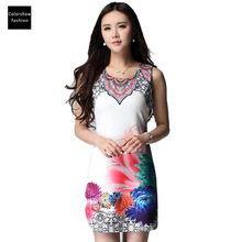 black friday 2015 women dress spain desigual bodycon sleeveless short vintage Floral dress fit and flare robe femme women dress (China (Mainland))