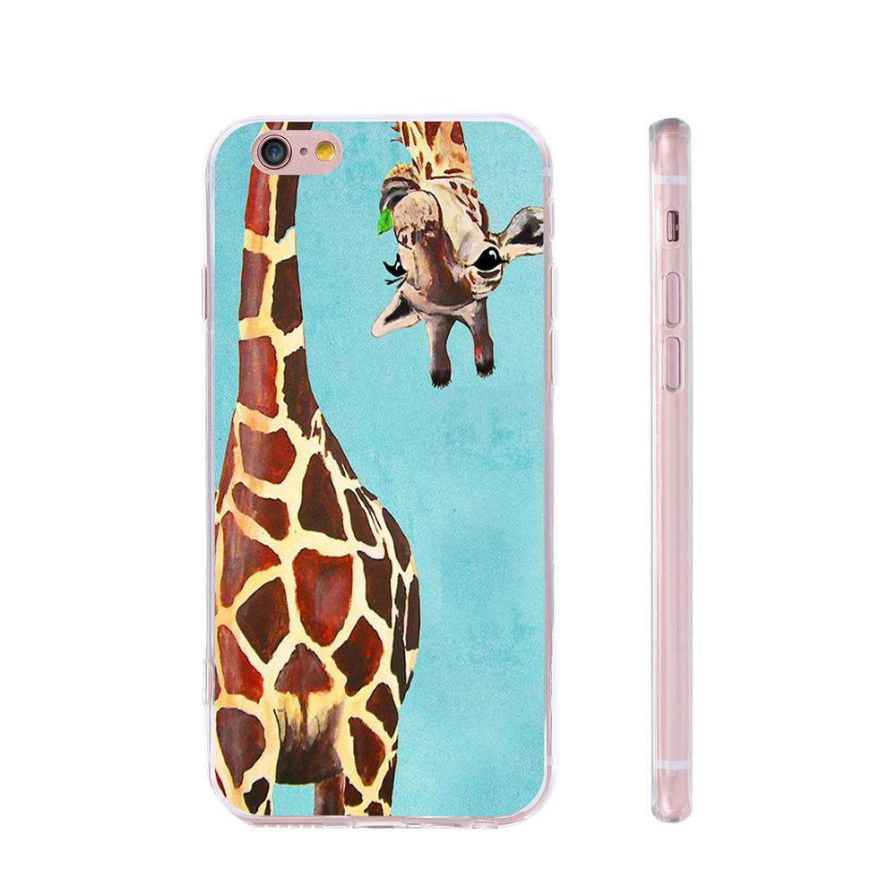 Art Print Cover Giraffe Pattern Cases For Samsung S5 S6 S7 Edge Plus Note7 5 Gel Rubber TPU Phone Case For iPhone 6 6S Plus 5s