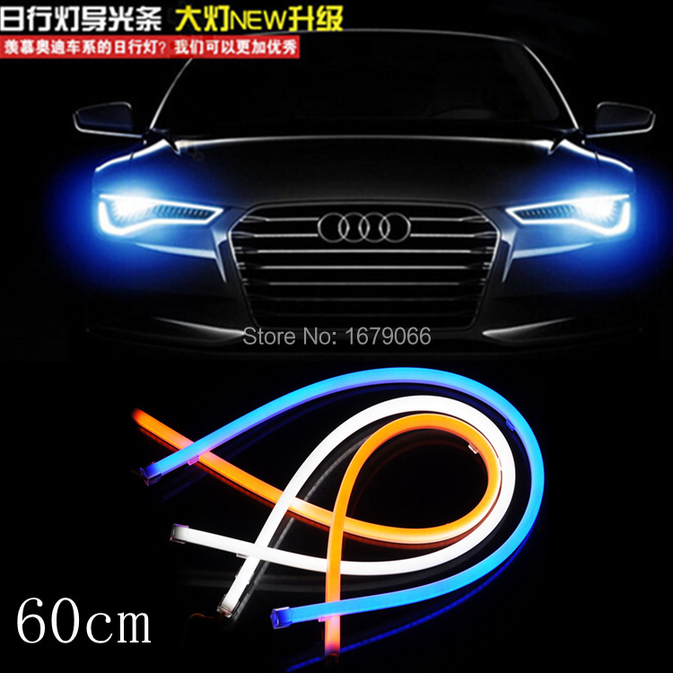 car styling 2x 60cm White blue Red yellow Flexible Tube Style Headlight Headlamp Strip Angel Eye DRL Decorative Light parking(China (Mainland))