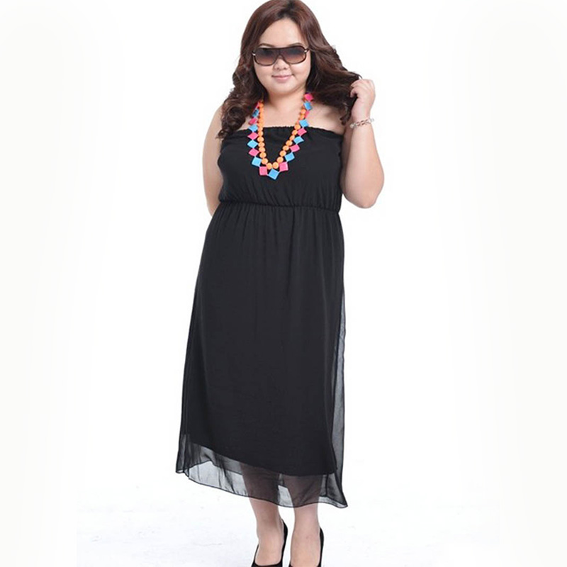 large big Size women maxi dress chiffon Wrapped chest ...