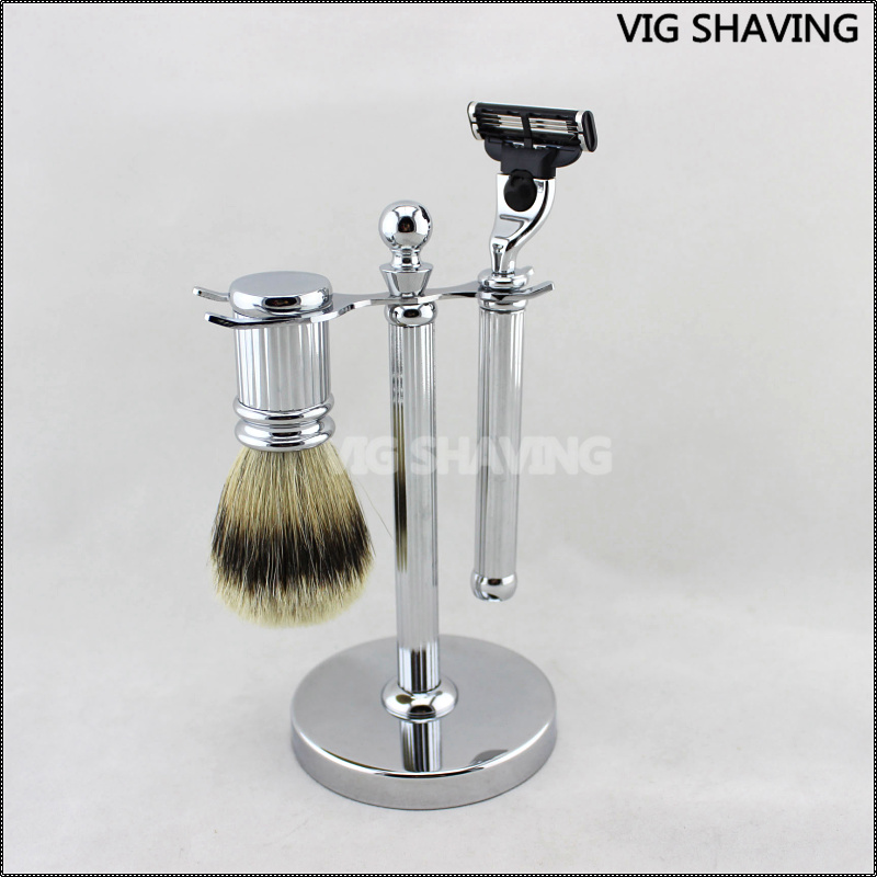 silvertip badger hair shaving brush M3 razor set