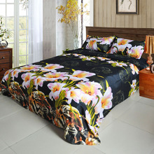 4pcs 3D Printed Bedding Set Bedclothes Tiger and Lily Flower Queen/King Size Duvet Cover+Bed Sheet+2 Pillowcases(China (Mainland))