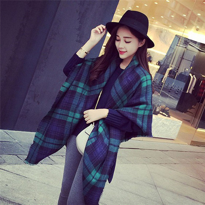 Lady Women Blanket Oversized font b Tartan b font Scarf Wrap Shawl Plaid Cozy Checked Vee