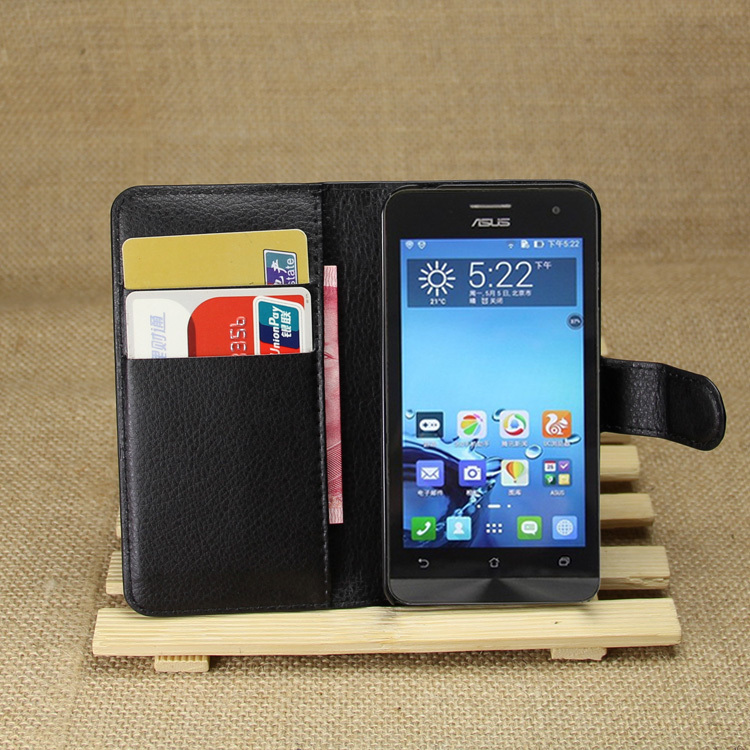 wallet Leather Case Asus Zenfone 4 A400CG leather case credit card holder phone cases - T-Buy Electronic store