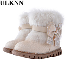 ULKNN Butterfly-knot girls snow boots winter warm Flat with round toe zip kids shoes baby beige black boot size 21-25 pink plush(China)
