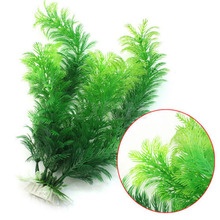 "NEW Design Hot Selling 11.8"" Green Artificial Plastic Plant Grass FishTank Aquarium Ornament Decor(China (Mainland))"