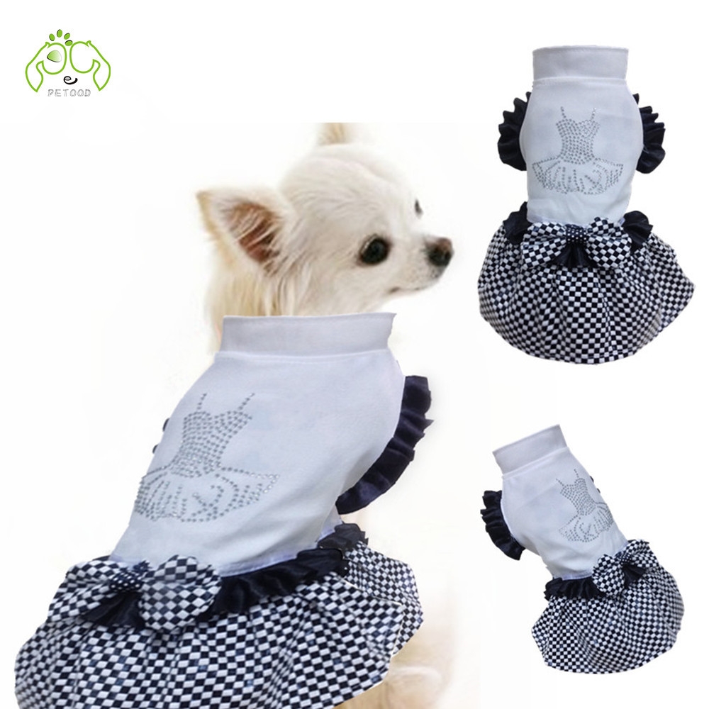 2015 designer pet clothing dog dress clothes white princess dress for small and big girl dogs with drilling and bow high quality(China (Mainland))