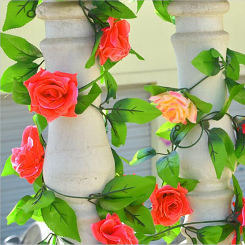 1Pcs DIY Artificial Rose Vines 4 Color Flowers For Wedding Decoration Long 240 CM Silk Flowers Leaves Vine Home Decor(China (Mainland))