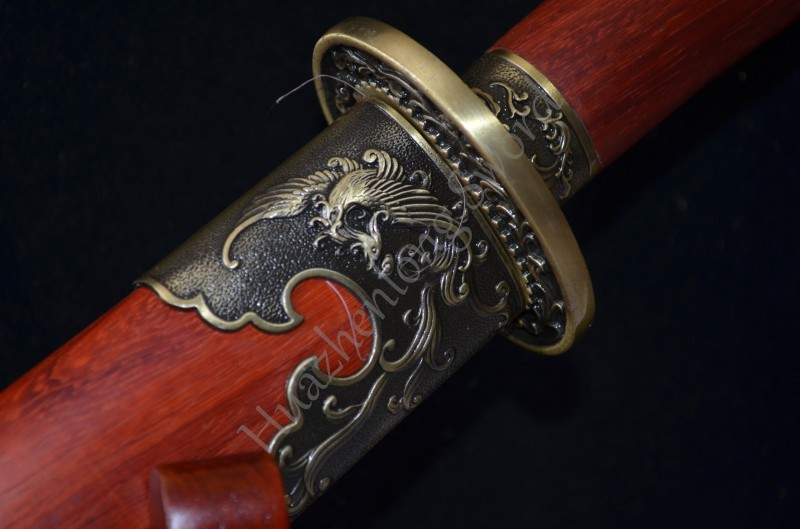 Buy Rosewood Saya Chinese Qing Dynasty Type Sword red Folded Steel Knife Vintage Home Decoration Christmas gift Real sharp can cut cheap