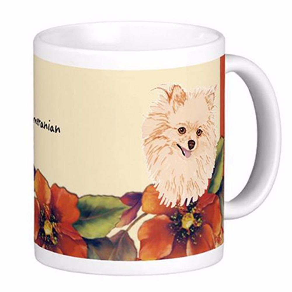 Pomeranian Autumn Floral Design White Coffee Mugs Tea Mug Customize Gift By LVSURE Ceramic Cup Mug Travel Coffee Mugs(China (Mainland))
