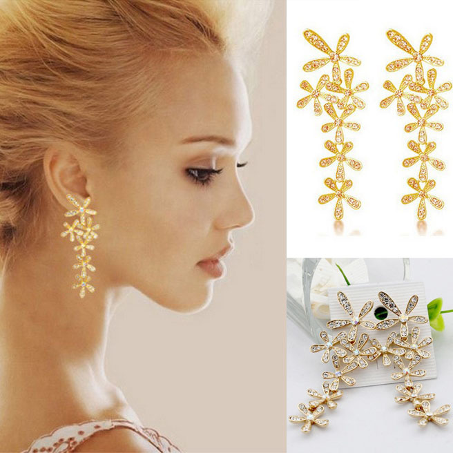 Women 2015 New Fashion Full Rhinestone Crystal Long Snowflake Flower Dangle Drop Tassel Earrings Gold Silver C1R27C - YouMap Jewelry Store store