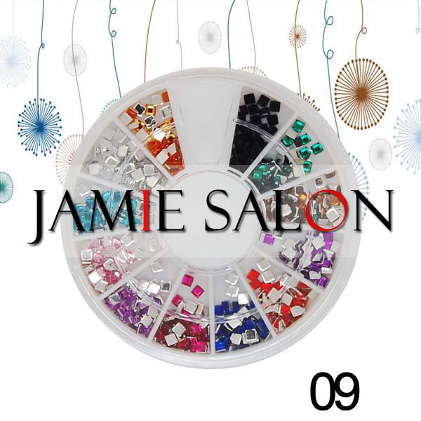 Nail Art Acrylic Rhinestones Square Design Glitter Gems Decoration Wheel Set Size: 2*2mm #09