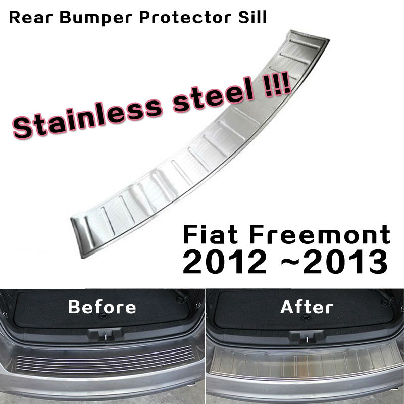 Stainless steel Rear Bumper Protector Sill Plate Cover trim Exterior for 2012 2013 Fiat Freemont(China (Mainland))