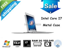 Free shipping 13.3 inch Intel dual core i7 Laptop computer 1.90Ghz,Quad Threads,2GB RAM& 64GB SSD,HDMI, 8400mAh Battery, win7