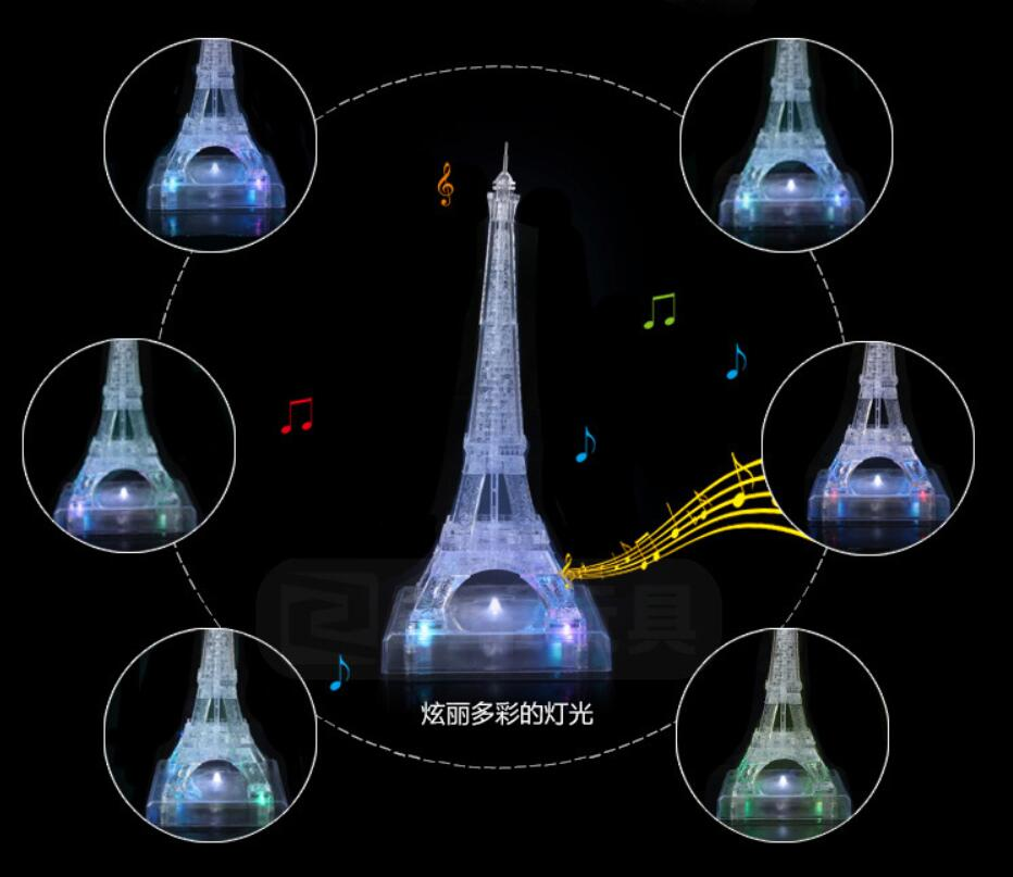 2016 NEW Children's Educational 3D Jigsaw Toys Eiffel Tower Crystal Puzzle Toy DIY Puzzles For Kids / Adults(China (Mainland))