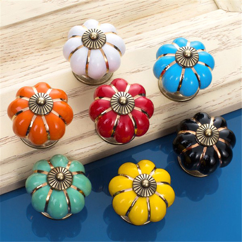 1Pcs Colorful Countryside Pumpkin Ceramic Door Drawer Cabinet Wardrobe Pull Handle Knobs Christmas Antique Drawer Handles(China (Mainland))
