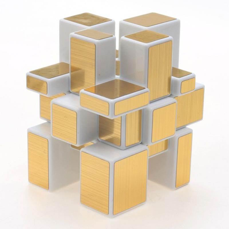 3x3x3 Mirror Blocks Silver Shiny Magic Cube Puzzle Brain Teaser IQ Kid Funny White Gold Eduncation Toy(China (Mainland))