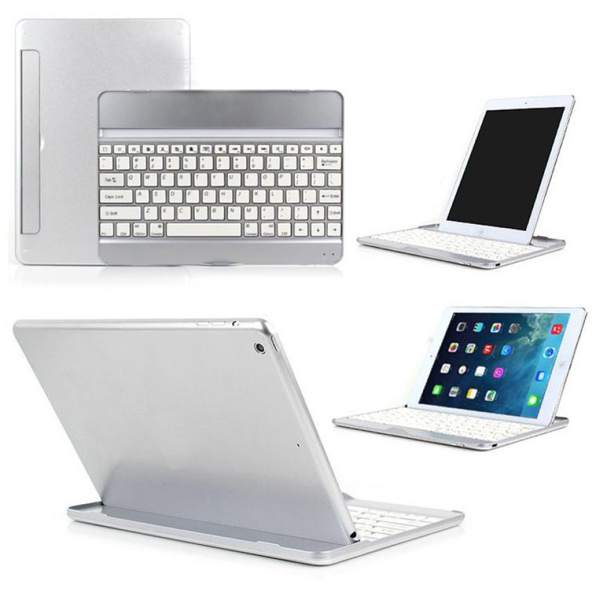 NEW HOT Selling Silver an Black Aluminum Bluetooth Stand Keyboard Case Dock For New Apple iPad Air 5 jn1(China (Mainland))