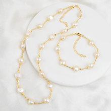 ASHIQI Natural Freshwater Pearl Jewelry Set Necklace Bracelet for Women NE+BR(China)