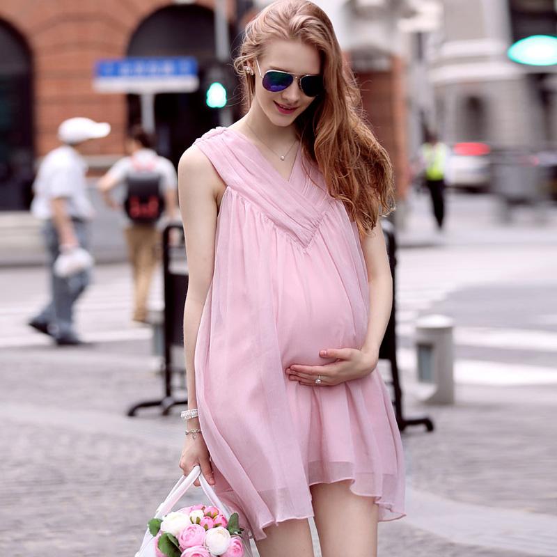 Mamalove Summer Maternity Clothes Chiffon O-neck Pregnancy Dress for Pregnant Woman Pregnant Women's Dresses Maternity Dresses(Hong Kong)