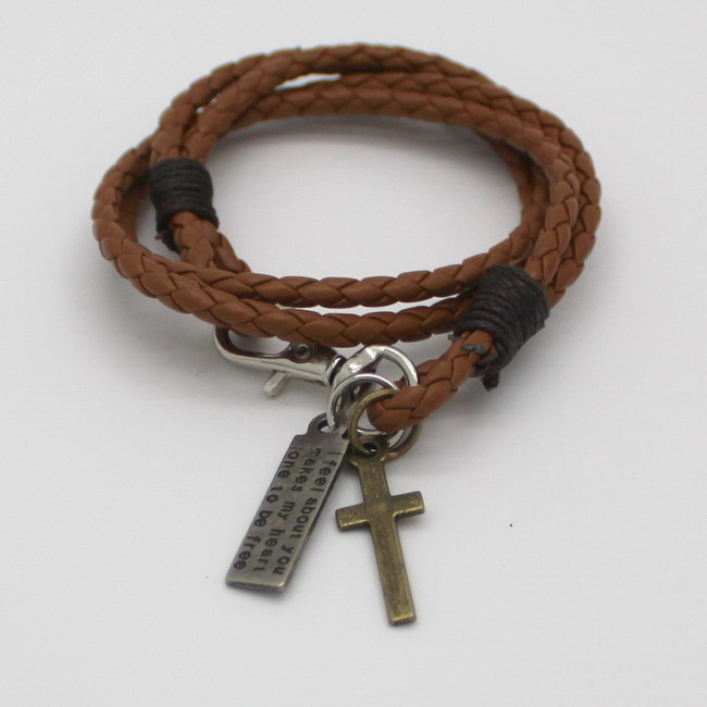 Christian Cross Leather Bracelet Scripture Jesus Bible Religious(China (Mainland))