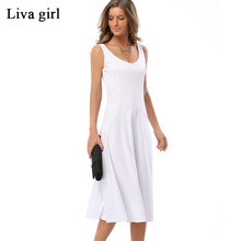 Buy Summer Women Chiffon Sexy Casual Sleeveless O-Neck Solid Color Pleased Dress Plus Size Beach White Black Blue Sweet Dress 726 for $12.92 in AliExpress store