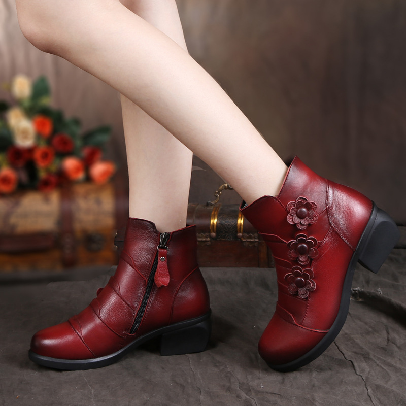 2017 New Style Genuine Leather Women Boots Retro National Wind Flowers Ladys Shoes Zip Decoration Spike Heels Boot For Spring(China (Mainland))